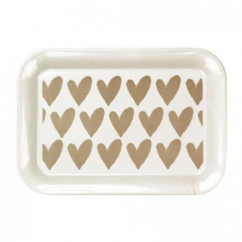Small White Heart Tea Coffee Biscuit Snack Tray
